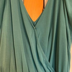 Ava & Viv Dresses - Teal v-neck high-low wrap dress